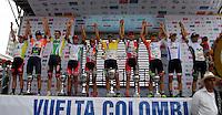 COLOMBIA. 17-08-2014. Podium general de la Vuelta a Colombia 2014 en bicicleta que se cumple entre el 6 y el 17 de agosto de 2014. / General podium of the general clasification of the Tour of Colombia 2014 in bike holds between 6 and 17 of August 2014. Photo:  VizzorImage/ José Miguel Palencia / Str
