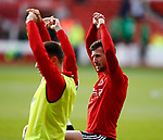 Jake Wright of Sheffield Utd  warms up during the Championship match at the City Ground Stadium, Nottingham. Picture date 30th September 2017. Picture credit should read: Simon Bellis/Sportimage