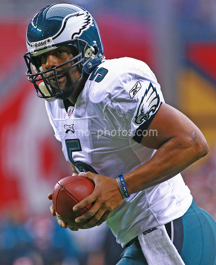 Jan. 18, 2009; Glendale, AZ, USA; Philadelphia Eagles quarterback Donovan McNabb (5) looks to hand the ball off during pre-game warmups before the NFC Championship game against the Arizona Cardinals at University of Phoenix Stadium.