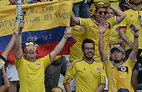 BARRANQUILLA - COLOMBIA - 17-11-2015: Aspecto de los hichas de Colombia durante el encuentro entre Colombia y Argentina válido por la clasificación a la Copa Mundo FIFA 2018 Rusia jugado en el estadio Metropolitano Roberto Melendez en Barranquilla./  Aspect of the fans of Colombia during the match between Colombia and Argentina valid for the 2018 FIFA World Cup Russia Qualifiers played at Metropolitan stadium Roberto Melendez in Barranquilla. Photo: VizzorImage / Gabriel Aponte / Staff