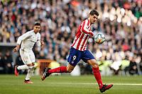 1st February 2020; Estadio Santiago Bernabeu, Madrid, Spain; La Liga Football, Real Madrid versus Atletico de Madrid; Alvaro Morata (Atletico de Madrid) breaks forward on the ball