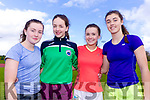 Kate Sugrue Claire O'Connor, Isobel O'Connor and Rachel Dwyer, students attending Colaiste Na Sceilge, Cahersiveen, pictured at the Kerry ETB Athletics event at An Riocht, Castleisland, on Friday last.