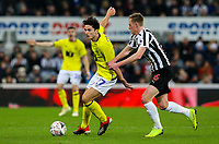 Blackburn Rovers' Lewis Travis holds off the challenge from Newcastle United's Sean Longstaff<br /> <br /> Photographer Alex Dodd/CameraSport<br /> <br /> Emirates FA Cup Third Round - Newcastle United v Blackburn Rovers - Saturday 5th January 2019 - St James' Park - Newcastle<br />  <br /> World Copyright &copy; 2019 CameraSport. All rights reserved. 43 Linden Ave. Countesthorpe. Leicester. England. LE8 5PG - Tel: +44 (0) 116 277 4147 - admin@camerasport.com - www.camerasport.com
