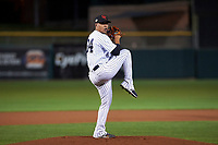 Scottsdale Scorpions starting pitcher Justus Sheffield (34), of the New York Yankees organization, delivers a pitch to the plate during an Arizona Fall League game against the Mesa Solar Sox on October 23, 2017 at Scottsdale Stadium in Scottsdale, Arizona. The Solar Sox defeated the Scorpions 5-2. (Zachary Lucy/Four Seam Images)
