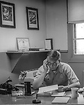Lt. Reaves wondering why I am bothering him.<br /> <br /> March 1964: CAFB, California<br /> Staff of the Valley Bomber, 93rd Bomb Wing, Directory of Information, SAC<br /> Photo by Al Golub/Golub Photography<br /> <br /> Castle is named for Brigadier General Frederick W. Castle, who died on Dec. 24, 1944 flying his 30th bombing mission. He died leading an armada of 2000 B-17s on a strike against German airfields. On the way to the target, an engine failure over Liege, Belgium caused his bomber to fall behind, where it was attacked by Germans and caught fire. He ordered his men to bail out but stayed alone at the controls of the flaming Flying Fortress until it crashed. The entire crew, except Gen. Castle and one airman killed before the bailout order, survived. Gen. Castle received a Medal of Honor posthumously for his bravery.<br /> <br /> Castle became home to the 93rd Bombardment Wing in 1947. Aircraft stationed at Castle included B-29, B-17 and C-54 aircraft, with B-50 bombers arriving in 1949. In 1954, B-47 bombers arrived.  On June 29, 1955, Castle received the Air Force's first B-52. These heavy bombers can hold the equivalent of three railroad cars' worth of fuel. The first Air Force KC-135 jet tanker arrived May 18, 1957<br /> <br /> Castle was selected for closure under the Defense Base Closure and Realignment Act of 1990 during Round II Base Closure Commission deliberations (BRAC 91). The last of the B-52s left the base in 1994, followed by the departure of the last of the KC-135s in early 1995. The base closed September 30, 1995.