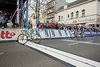Peter Sagan (SVK/Cannondale) victorious over Niki Terpstra (NLD/OPQS) &amp; Geraint Thomas (GBR/SKY)<br /> <br /> 57th E3 Harelbeke 2014