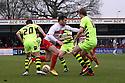 Dani Lopez of Stevenage surrounded. Stevenage v Yeovil Town- npower League 1 -  Lamex Stadium, Stevenage - 13th April, 2013. © Kevin Coleman 2013.. . . . .. . . .  . . .  .