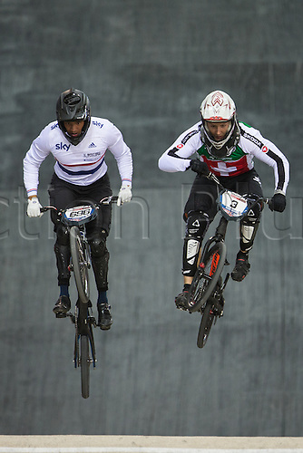 10.04.2016. National Cycling Centre, Manchester, England. UCI BMX Supercross World Cup Finals. David Graf and Tre Whyte.