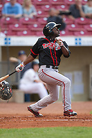 Lansing Lugnuts outfielder Dwight Smith Jr. #18 bats during a game against the Cedar Rapids Kernels at Veterans Memorial Stadium on April 29, 2013 in Cedar Rapids, Iowa. (Brace Hemmelgarn/Four Seam Images)