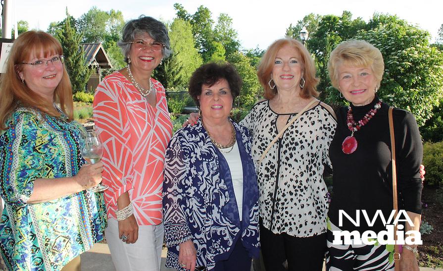 NWA Democrat-Gazette/CARIN SCHOPPMEYER Natalie Olsen (from left), Daymara Baker, Shirley Esch, Janice Stanesic and Janet Hendren help support the Botanical Garden of the Ozarks on May 12.
