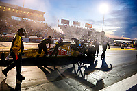 Mar 16, 2018; Gainesville, FL, USA; Crew members for NHRA top fuel driver Leah Pritchett during qualifying for the Gatornationals at Gainesville Raceway. Mandatory Credit: Mark J. Rebilas-USA TODAY Sports