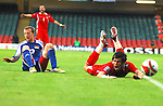 Gareth Bale is brought down to get Wales a Penalty. Wales V Liechtenstein, 2010 World Cup Qualifying Group 4 © Ian Cook IJC Photography iancook@ijcphotography.co.uk www.ijcphotography.co.uk