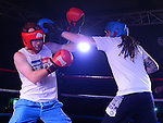 Rob Farrell (Blue) and Eric Lynch (Red) who took part in the white collar boxing in Ardee parish centre. Photo:Colin Bell/pressphotos.ie