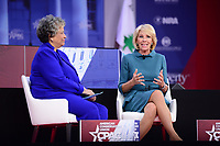 National Harbor, MD - February 22, 2018: U.S. Secretary of Education Betsy Devos participates in a discussion, moderated by Heritage Foundation president Kay Coles James, during the Conservative Political Action Conference (CPAC) at the Gaylord National Hotel in National Harbor, MD, February 22, 2018  (Photo by Don Baxter/Media Images International)