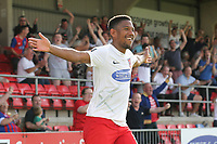 Angelo Balanta of Dagenham and Redbridge scores the second goal for his team and celebrates during Dagenham & Redbridge vs Hartlepool United, Vanarama National League Football at the Chigwell Construction Stadium on 14th September 2019