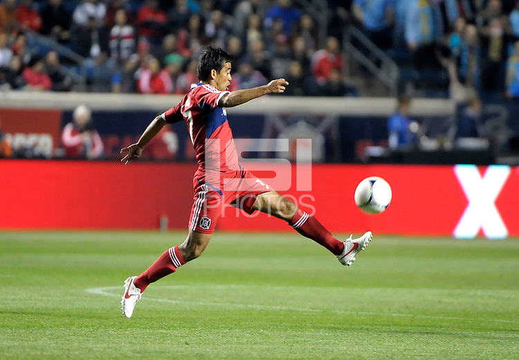 Chicago Fire midfielder Pavel Pardo (17) reaches to play the ball.  The Chicago Fire defeated the Philadelphia Union 1-0 at Toyota Park in Bridgeview, IL on March 24, 2012.