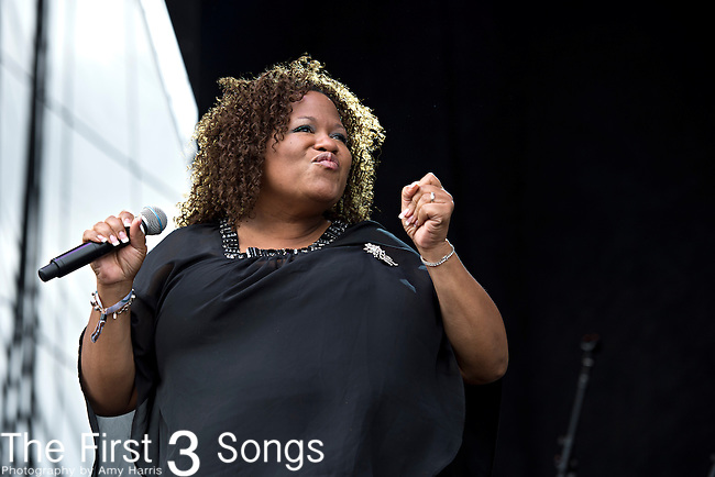 Starr Duncan Lowe of Sharon Jones and the Dap-Kings perform during the Forecastle Music Festival at Waterfront Park in Louisville, Kentucky.