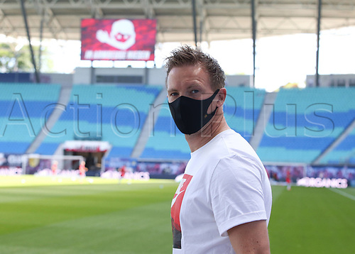 16th May 2020, Red Bull Arena, Leipzig, Germany; Bundesliga football, Leipzig versus FC Freiburg; Manager Julian Nagelsmann RBL wears a protective mask pre-game