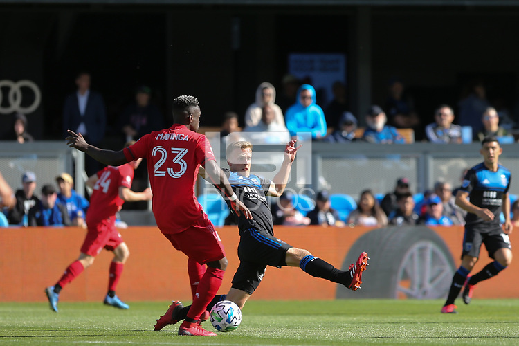 SAN JOSE, CA - FEBRUARY 29: Tommy Thompson #22 of the San Jose Earthquakes defends Chris Mavinga #23 of Toronto FC during a game between Toronto FC and San Jose Earthquakes at Earthquakes Stadium on February 29, 2020 in San Jose, California.