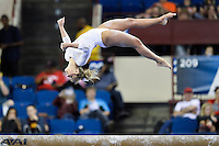 Ohio State's Taylor Harrison competes on the balance beam during the semifinals of the NCAA women's gymnastics championships, Friday, April 17, 2015 in Fort Worth, Tex.(Mo Khursheed/TFV Media via AP Images)