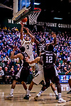 18 December 2018: University of Vermont Catamount Forward Anthony Lamb, a Junior from Toronto, Ontario, scores two on a first-half layup against the St. Bonaventure University Bonnies at Patrick Gymnasium in Burlington, Vermont. The Catamounts defeated the Bonnies 83-76 in a double-overtime NCAA DI game. Mandatory Credit: Ed Wolfstein Photo *** RAW (NEF) Image File Available ***