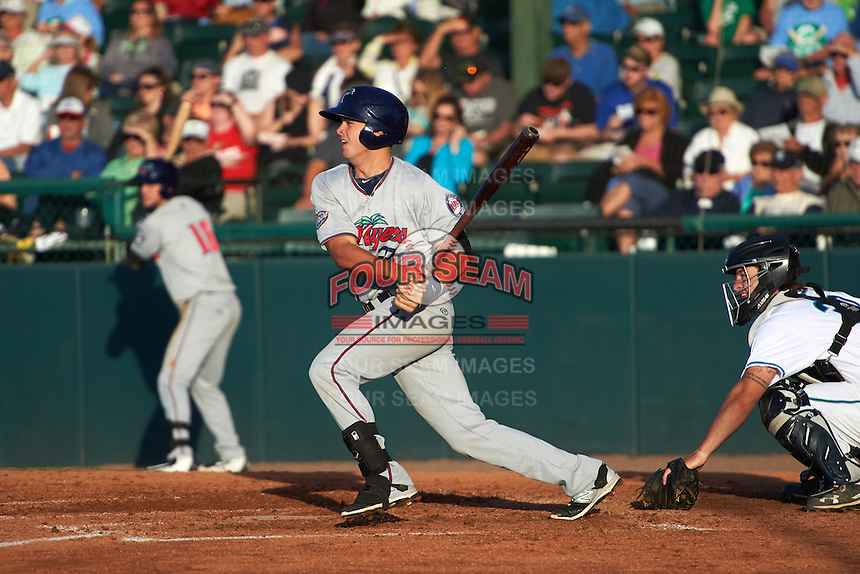 Fort Myers Miracle first baseman Trey Vavra (33) at bat in front of catcher Garrett Boulware during a game against the Daytona Tortugas on April 17, 2016 at Jackie Robinson Ballpark in Daytona, Florida.  Fort Myers defeated Daytona 9-0.  (Mike Janes/Four Seam Images)
