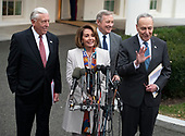 Incoming Speaker of the United States House of Representatives Nancy Pelosi (Democrat of California) speaks to reporters at the White House after meeting with US President Donald J. Trump on border security and reopening the federal government at the White House in Washington, DC on Wednesday, January 2, 2018.  Pictured from left to right: Incoming US House Majority Leader Steny Hoyer (Democrat of Maryland); Speaker-elect Pelosi; United States Senator Dick Durbin (Republican of Illinois) and United States Senate Minority Leader Chuck Schumer (Democrat of New York).<br /> Credit: Ron Sachs / CNP