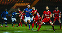 Rochdale's Bradden Inman (left) and Walsall's Adam Chambers (right) battles during the Sky Bet League 1 match between Rochdale and Walsall at Spotland Stadium, Rochdale, England on 23 December 2017. Photo by Juel Miah / PRiME Media Images.