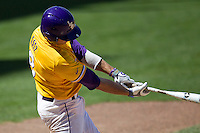 LSU Tigers first base Mason Katz #8 swings the bat against the Auburn Tigers in the NCAA baseball game on March 24, 2013 at Alex Box Stadium in Baton Rouge, Louisiana. LSU defeated Auburn 5-1. (Andrew Woolley/Four Seam Images).