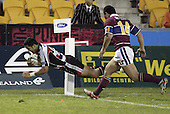 Lelia Masaga dives over to score in the corner during the Air NZ Cup game between the Counties Manukau Steelers and Southland played at Mt Smart Stadium on 3rd September 2006. Counties Manukau won 29 - 8.