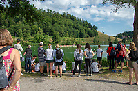 Lucerne, SWITZERLAND, 12th July 2018, Friday  FISA World Cup series, No.3, Lake Rotsee, Lucerne,  Coaches and Supporters, gather at Bullshit Point, Photographer Karon PHILLIPS
