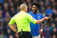 Referee Graham Salisbury has a word with Ellis Harrison of Portsmouthduring Portsmouth vs Gillingham, Sky Bet EFL League 1 Football at Fratton Park on 12th October 2019