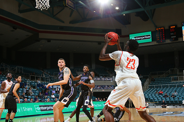 DENTON, TX - MARCH 8: Sam Houston v UCA during the Southland conference basketball Tournament Game 1 at Merrell Center in Katy on March 8, 2017 in Katy, Texas. (Photo by Rick Yeatts)