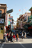 USA, California, San Francisco, people wait to cross a street in China town