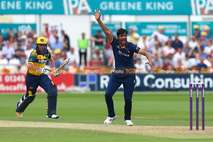 Mohammad Amir of Essex with an appeal for the wicket of Chris Cooke during Essex Eagles vs Glamorgan, NatWest T20 Blast Cricket at The Cloudfm County Ground on 16th July 2017