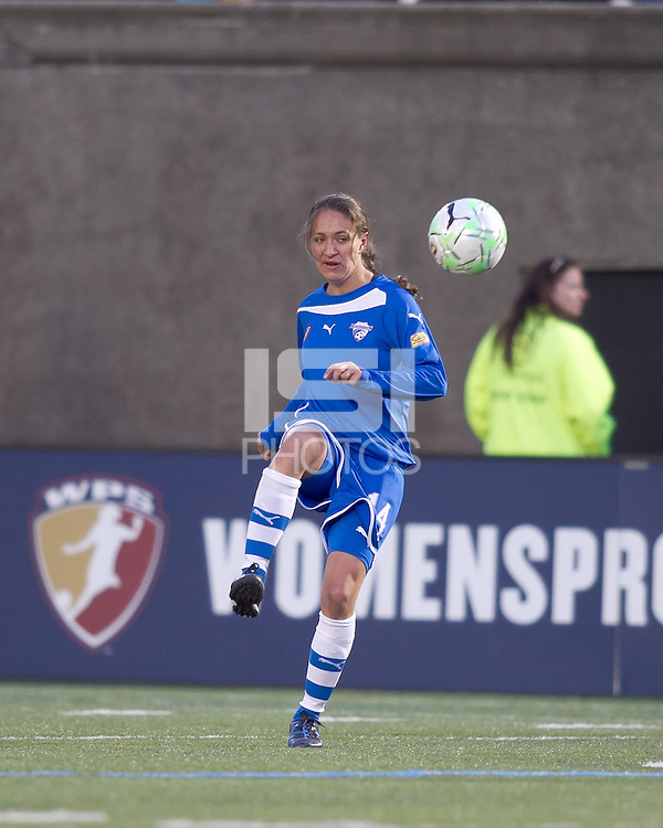 Boston Breakers defender Stephanie Cox (14) passes the ball. In a Women's Professional Soccer (WPS) match, the Western New York Flash defeated the Boston Breakers, 2-1, at Harvard Stadium on April 17, 2011.