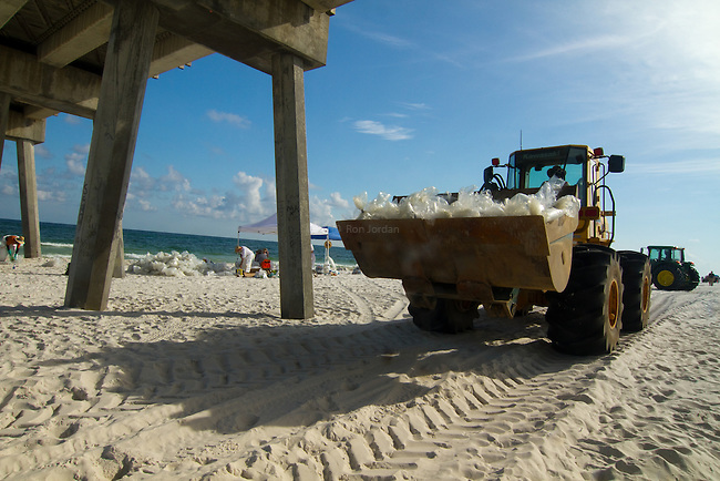 Pensacola Beach oil spill clean-up.