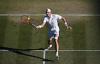 John Isner (USA) during his victory against Milos Raonic (CAN) in their Men's Quarter Final match<br /> <br /> Photographer Rob Newell/CameraSport<br /> <br /> Wimbledon Lawn Tennis Championships - Day 9 - Wedesday 11th July 2018 -  All England Lawn Tennis and Croquet Club - Wimbledon - London - England<br /> <br /> World Copyright &not;&copy; 2017 CameraSport. All rights reserved. 43 Linden Ave. Countesthorpe. Leicester. England. LE8 5PG - Tel: +44 (0) 116 277 4147 - admin@camerasport.com - www.camerasport.com