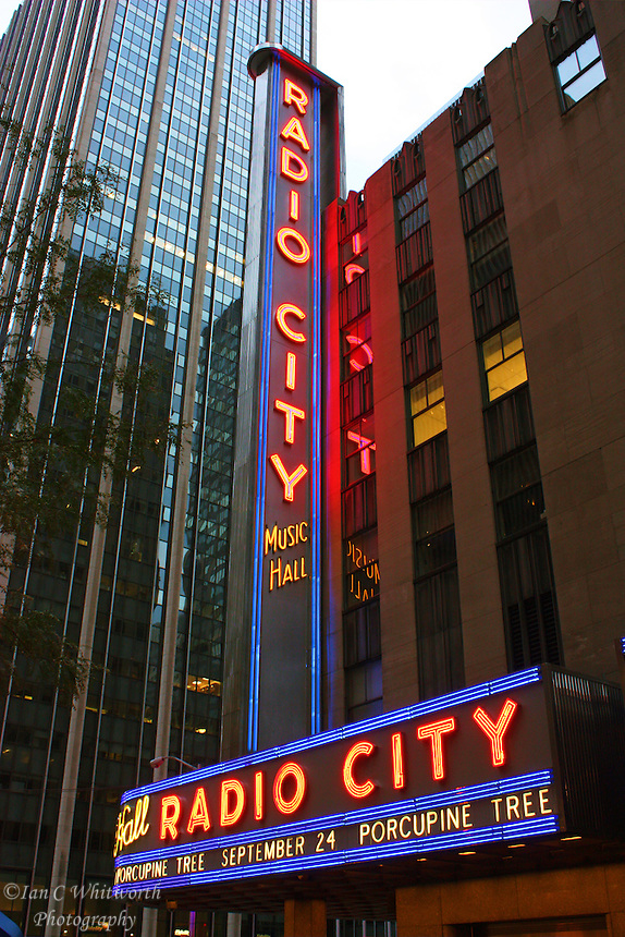 View of the landmark Radio City Music Hall in New York City.