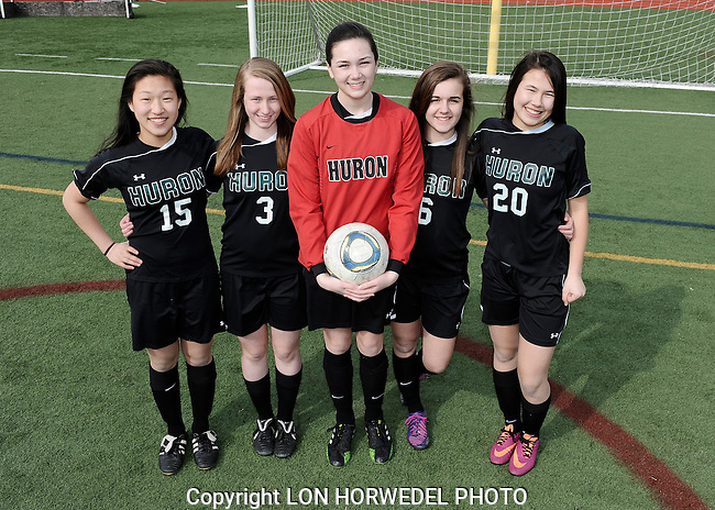 Huron High School girl's varsity soccer team. 4-2-14