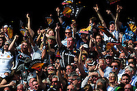 Exeter Chiefs fans in the crowd show their support. Aviva Premiership Final, between Saracens and Exeter Chiefs on May 28, 2016 at Twickenham Stadium in London, England. Photo by: Patrick Khachfe / JMP