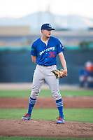 Ogden Raptors starting pitcher Brett de Geus (36) looks in for the sign during a Pioneer League game against the Orem Owlz at Home of the OWLZ on August 24, 2018 in Orem, Utah. The Ogden Raptors defeated the Orem Owlz by a score of 13-5. (Zachary Lucy/Four Seam Images)