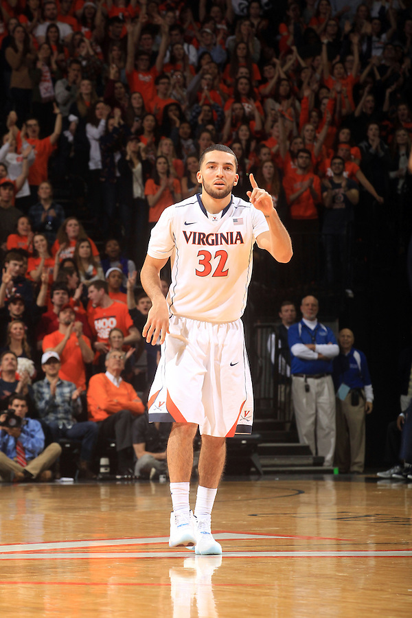 Virginia guard London Perrantes (32) during the game Jan. 22, 2015, in Charlottesville, Va. Virginia defeated Georgia Tech 57-28.