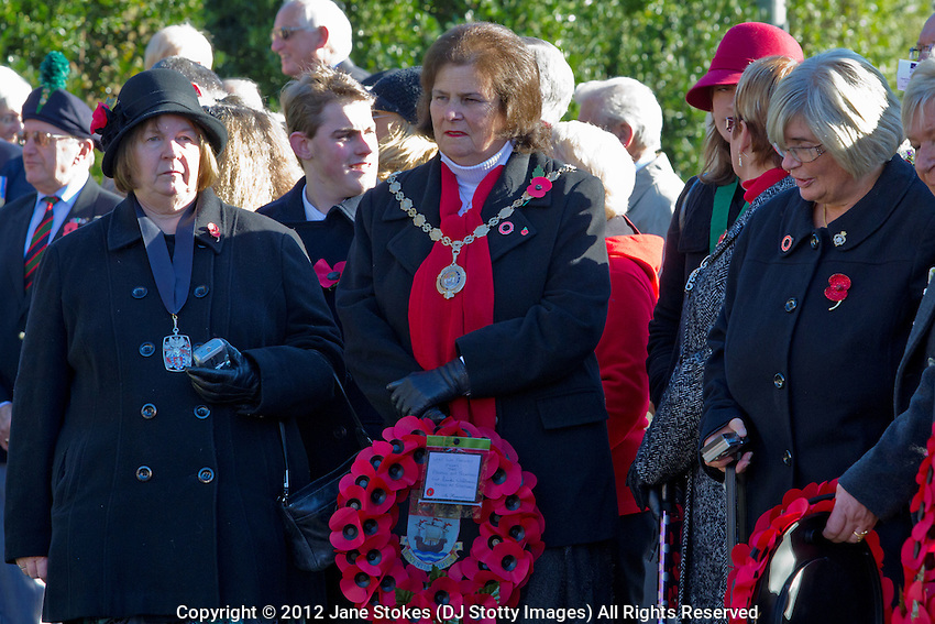 Councillor Linda Wallraven, Mayor of Seaford<br /> <br /> Ceremony of Remembrance at Seaford, East Sussex on 11 November 2012 Seaford Dignitaries