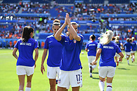 DECINES-CHARPIEU, FRANCE - JULY 07: Tobin Heath #17 warming up prior to the 2019 FIFA Women's World Cup France Final match between Netherlands and the United States at Groupama Stadium on July 07, 2019 in Decines-Charpieu, France.