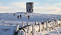 07/12/12 ..As the big freeze continues, dawn breaks over Solomon's Temple (also known as Grinlow Tower) a Victorian Folly near the spa town of Buxton in Derbyshire...All Rights Reserved - F Stop Press.  www.fstoppress.com. Tel: +44 (0)1335 300098.
