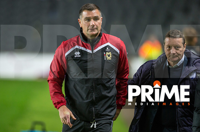 MK Dons Caretaker Manager Richie Barker  with Chesterfield Manager Danny Wilson (right) during the Sky Bet League 1 match between MK Dons and Chesterfield at stadium:mk, Milton Keynes, England on 22 November 2016. Photo by Andy Rowland.