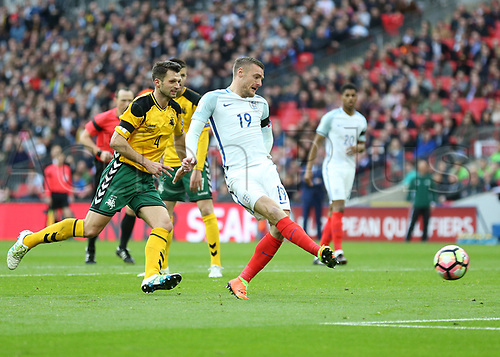 March 26th 2017, Wembley Stadium, London, England; World Cup 2018 Qualification football, England versus Lithuania; Jamie Vardy of England scores his sides 2nd goal in the 67th minute to make it 2-0