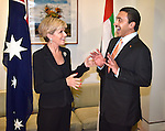 Australian Foreign Minister Julie Bishop (L) meets with  United Arab Emirates Foreign Minister His Highness Sheikh Abdullah (R) at Parliament House  in Canberra on March 16, 2016. / AFP / MARK GRAHAM