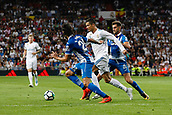 1st October 2017, Santiago Bernabeu, Madrid, Spain; La Liga football, Real Madrid versus Espanyol; Cristiano Ronaldo dos Santos (7) Real Madrid takes on Marc Roca (21) Espanyol and Sergio Sanchez (24) Espanyol